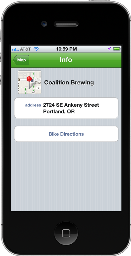 Screenshot of Bike Maps location detail