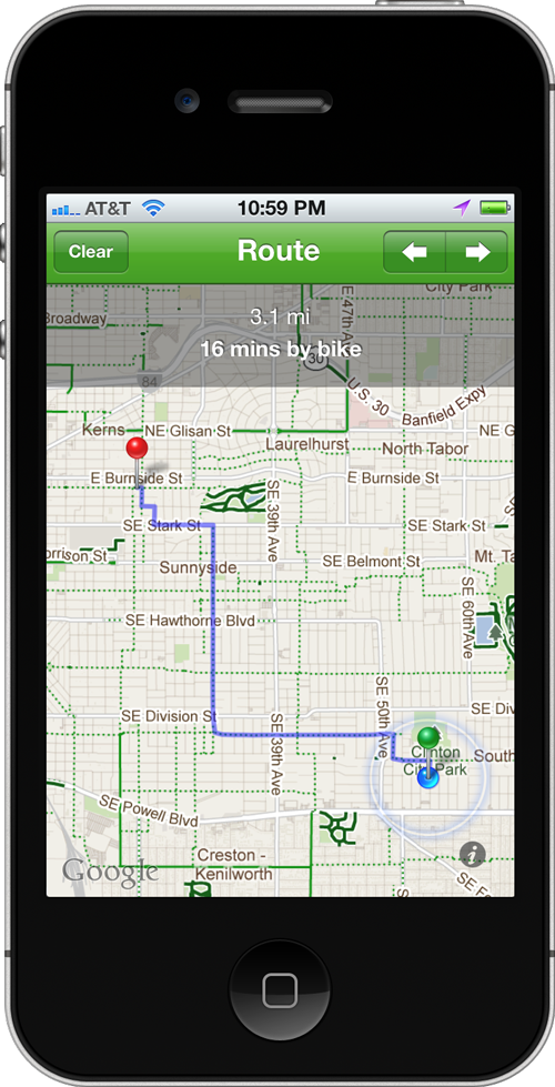 Screenshot of Bike Maps routing