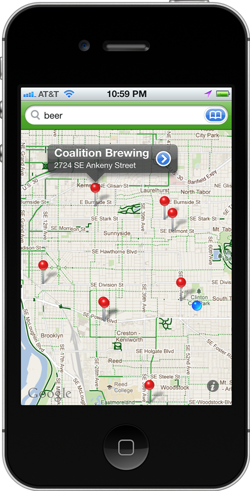 Screenshot of Bike Maps search