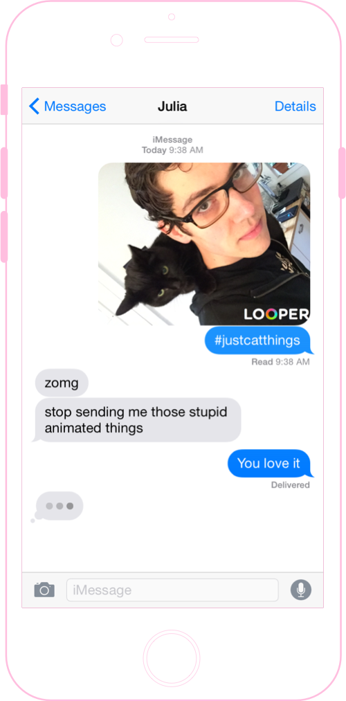 Screenshot of gif in Messages